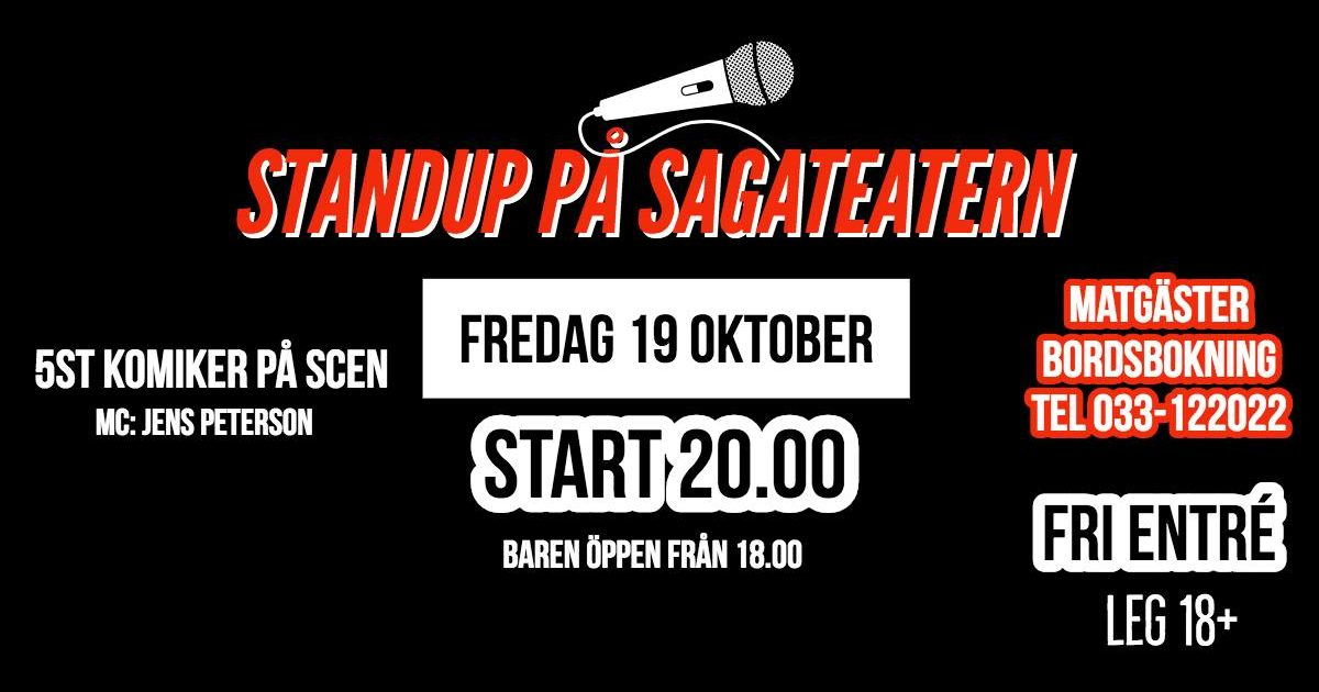 Stand up på Sagateatern 19 Oktober